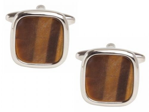 Tigers Eye Cufflinks Brown Cushion Shaped